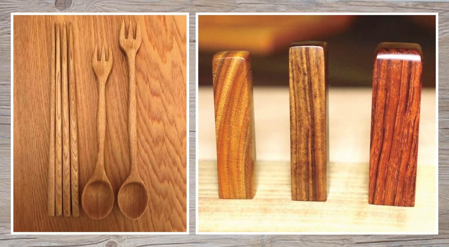 木製餐具和木頭印章都可以用刻磨機完成修邊與拋光