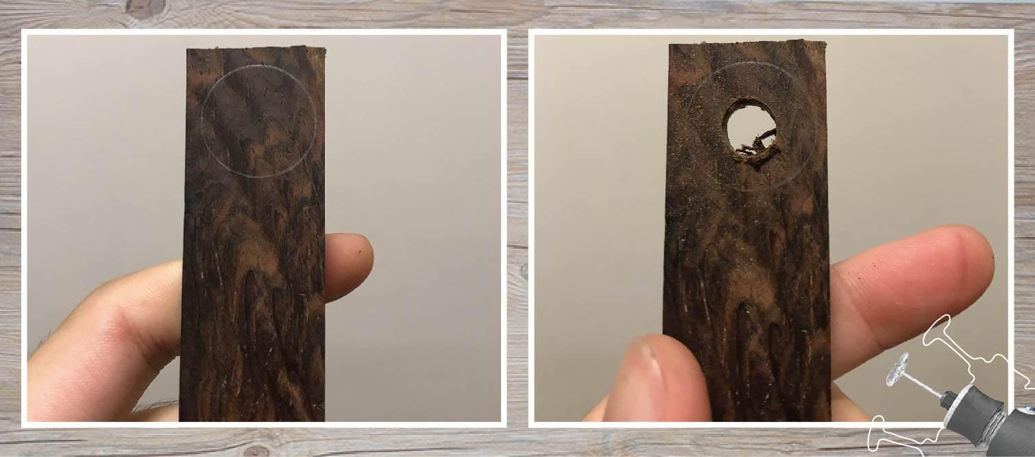 電鑽取孔將木戒指的中心挖出來
