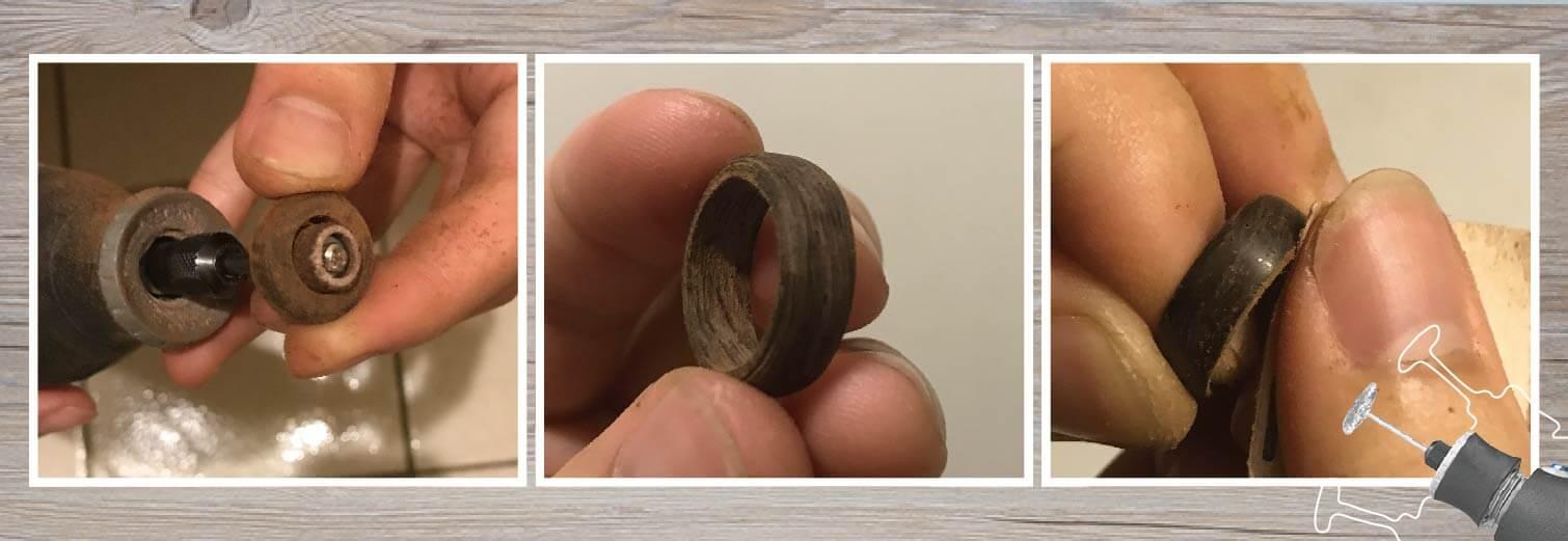 用Dremel3000刻磨機的配件砂紙輪平均打磨木戒指內圓部分