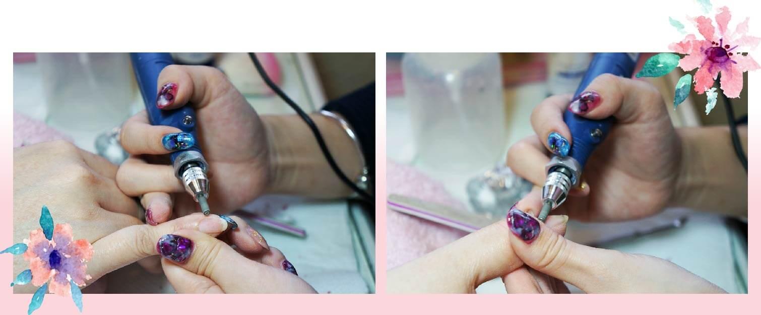 台製章魚牌磨甲機搭配各種鑽石磨頭將硬皮磨去,並把指甲表面角質層推開。