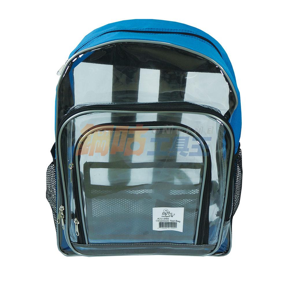 透明PVC後背包 附網狀側袋 多層收納