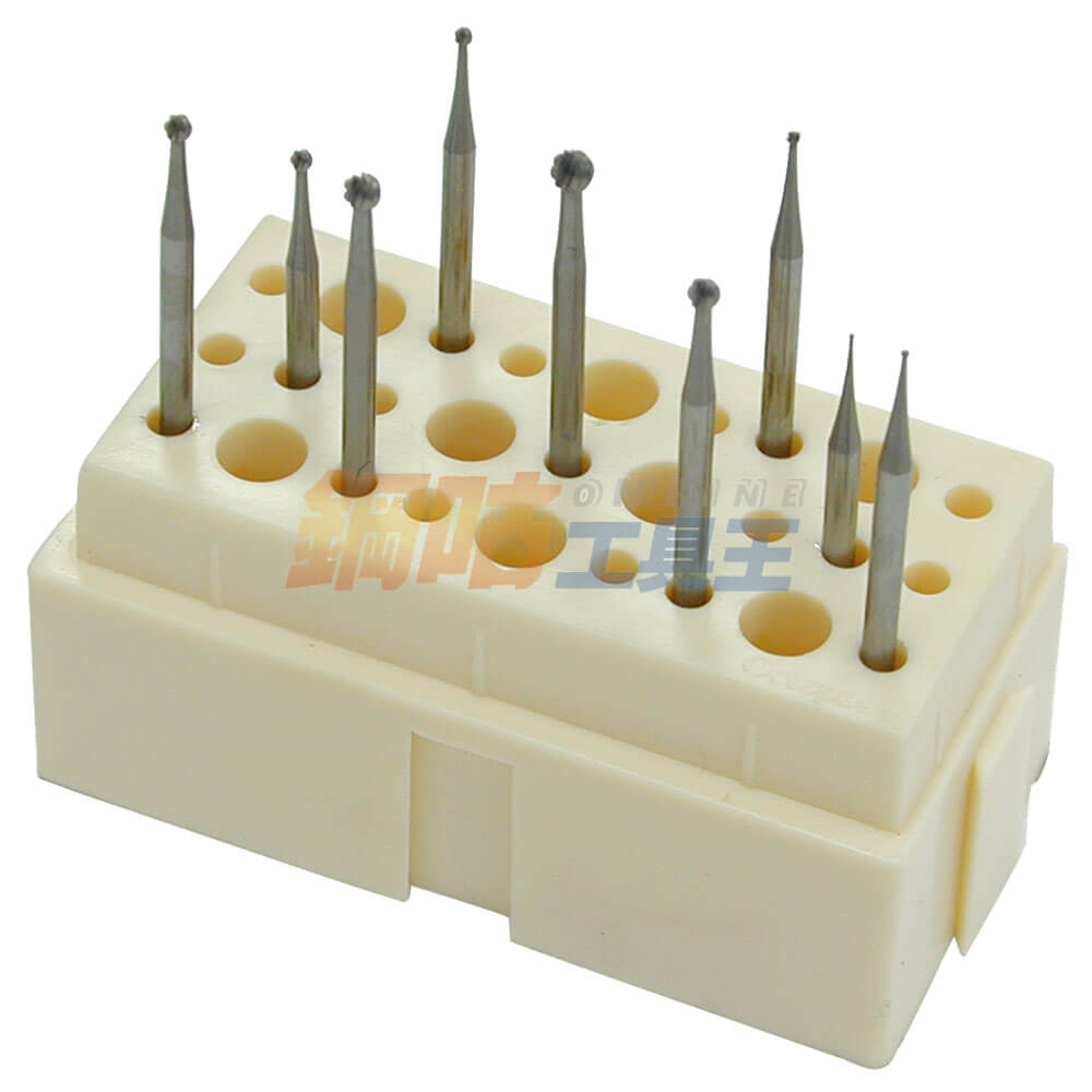 鑽針研磨頭球形9支組 附座